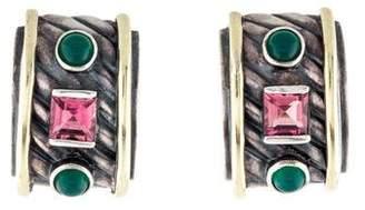 David Yurman Garnet & Onyx Cable Classic Huggie Earrings