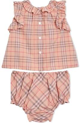 Burberry Ruffle Detail Check Cotton Dress with Bloomers