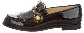 Christian Louboutin Patent Leather Embellished Loafers