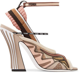 Fendi Logo-print Appliquéd Mesh And Neoprene Sandals - Neutral