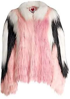 House of Fluff Women's Convertible Cape Faux Fur Jacket