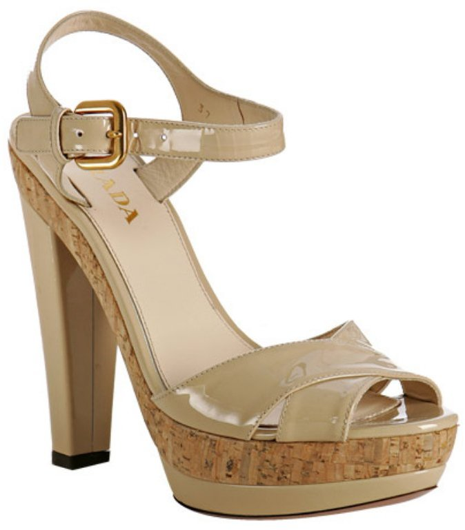 Prada sand patent leather platform sandals