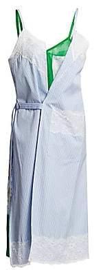Junya Watanabe Women's Striped Cotton & Floral Silk Layered Slip Dress