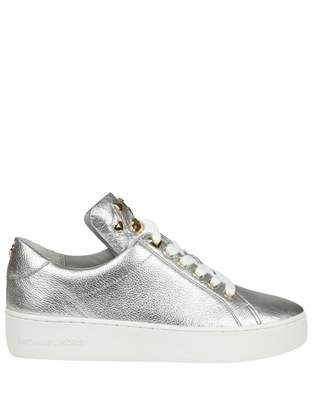 Michael Kors (マイケル コース) - Michael Kors Mindy Sneakers In Laminated Silver Leather