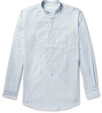 Richard James Grandad-Collar Striped Cotton And Linen-Blend Half-Placket Shirt