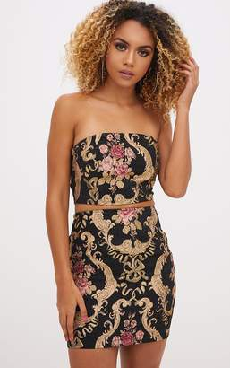 PrettyLittleThing Black Embroidered Bandeau Crop Top