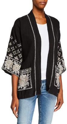 Johnny Was Sienne Embroidered Trapunto Kimono w/ Pockets, Plus Size