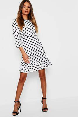 boohoo NEW Womens Lilliana Polka Dot Open Back Tea Dress in Cotton