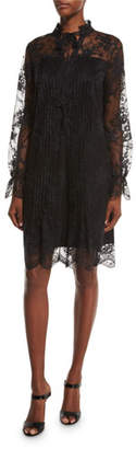 Elie Tahari Dara Long-Sleeve Lace Overlay Dress, Black $548 thestylecure.com