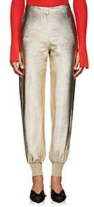 Stella McCartney WOMEN'S BOURNE METALLIC TEXTURED-WEAVE PANTS - GOLD SIZE 44 IT