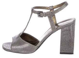 Lanvin Embossed Leather T-Strap Sandals