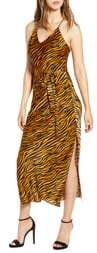 J.o.a. Animal Print Strappy Satin Midi Dress