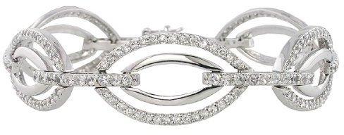 Sterling Silver Fancy Link Cubic Zirconia Oval Bracelet