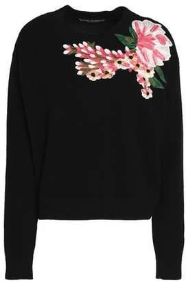 Dolce & Gabbana Floral-Appliquéd Wool And Cashmere-Blend Sweater