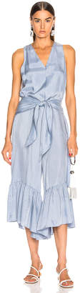 Tibi Cami Ruffle Jumpsuit in Blue Grey | FWRD