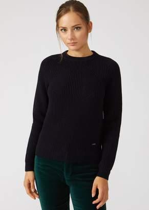 Emporio Armani Sweater In Full Cardigan Rib Virgin Wool With A Symmetrical Knit