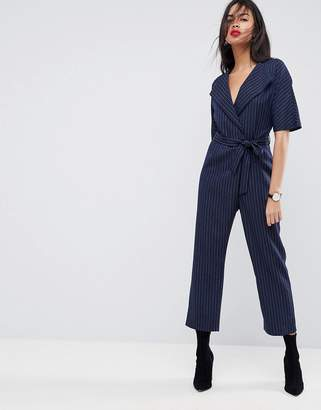 Asos Design Wrap Jumpsuit with Self Belt in Pinstripe