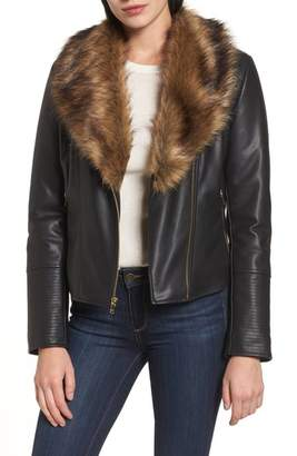 Cole Haan Faux Leather Jacket with Detachable Faux Fur