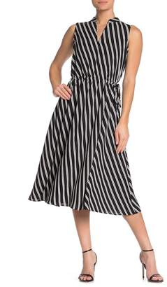 Anne Klein Bias Stiripe Drawstring Waist Midi Dress