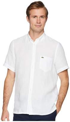 Lacoste Short Sleeve Solid Linen Button Down Collar Regular Men's Short Sleeve Button Up