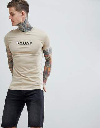 Asos Design DESIGN muscle fit t-shirt with squad print