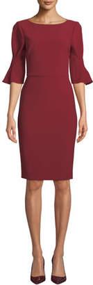 Badgley Mischka Pinched-Sleeve Sheath Dress