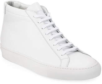 Common Projects Original Achilles Men's Leather Mid-Top Sneakers, White