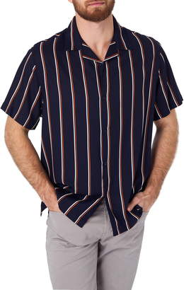 7 Diamonds Get Rhythm Slim Fit Stripe Camp Shirt