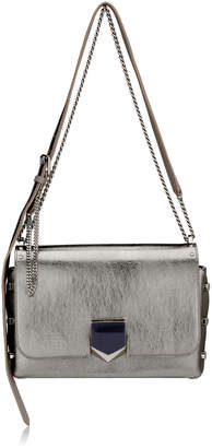 Jimmy Choo LOCKETT CITY Vintage Silver Etched Metallic Spazzolato Leather Shoulder Bag