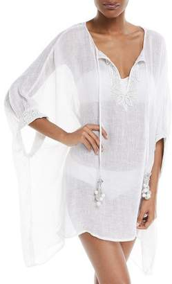 Flora Bella Stellaris Split-Neck Long-Sleeve Linen Caftan Coverup, One Size