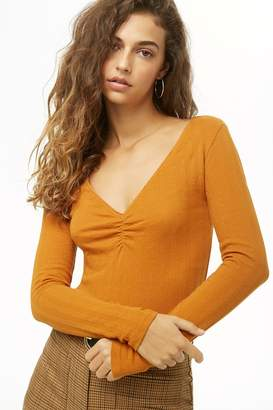 Forever 21 Ruched Ribbed Top