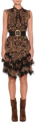 Etro Sleeveless Paisley-Print Silk Dress w/ Lace Trim