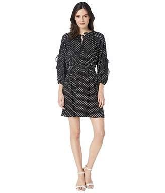 CeCe Long Sleeve Cascading Ruffle Pindot Dress