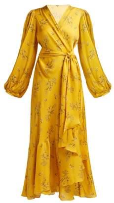 Johanna Ortiz Exotic Pitaya Floral Print Silk Wrap Dress - Womens - Yellow Multi