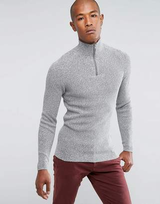 Selected 1/4 Zip Knitted Sweater in 100% Cotton