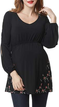 Kimi and Kai Kacey Embroidered Maternity Top