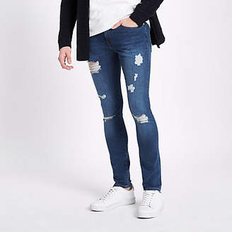 River Island Blue Danny super skinny ripped jeans