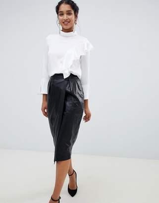 Closet London wrap front midi skirt