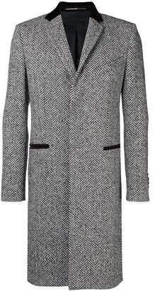 Givenchy velvet collar herringbone coat