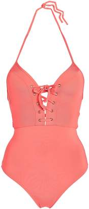 Jets Lace-up Cutout Triangle Swimsuit