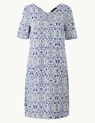Marks and Spencer Linen Rich Printed Shift Dress
