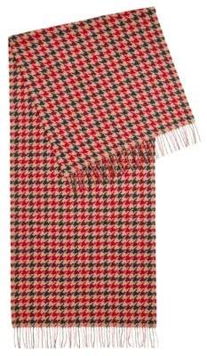 BOSS Hugo Three-color scarf in virgin wool houndstooth check pattern One Size Patterned