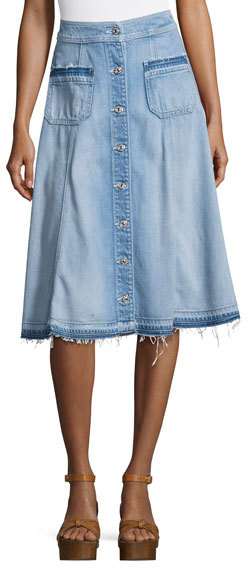 7 For All Mankind 7 For All Mankind Button-Front Flowy Denim Midi Skirt, Indigo