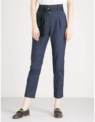 Claudie Pierlot Pinstriped tapered high-rise wool-blend trousers