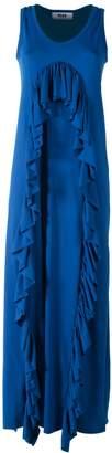 MSGM Fluted Ruffles Cotton-blend Maxi Dress