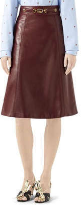 Gucci Logo-Belted Plonge Leather Skirt