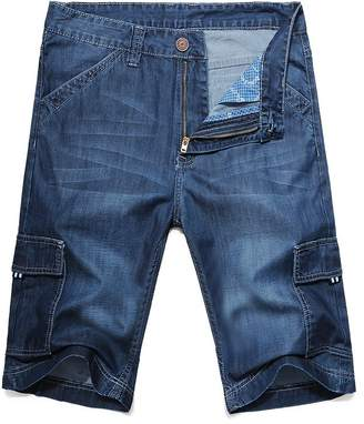 OCHENTA Men's Loose Fit Big & Tall Jean Cargo Shorts