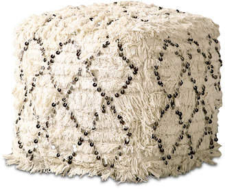3r Studio Moroccan Wedding Quilt Pouf with Sequins & Fringe