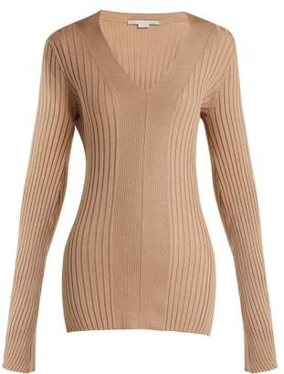 Stella Mccartney - Ribbed V Neck Sweater - Womens - Beige