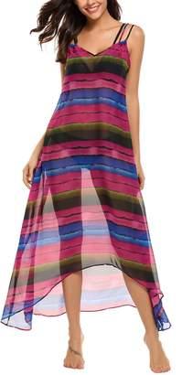 Meaneor Women Casual Sleeveless Print Chiffon Robe Beach Cover Up Dress
